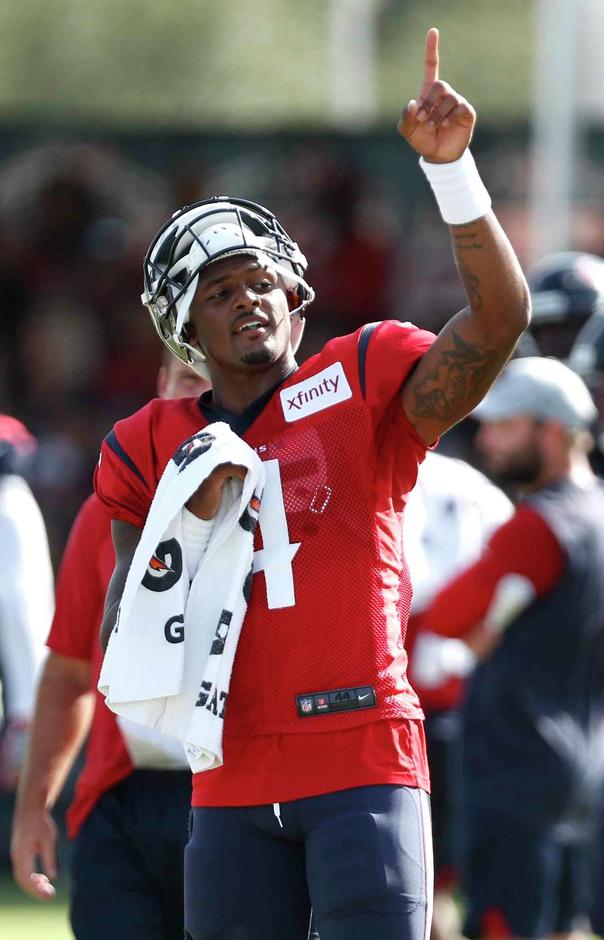 Houston Texans quarterback Deshaun Watson (4) points to the sky as he gets ready for a joint practice betwen the Texans and San Francisco 49ers at the Methodist Training Center on Wednesday, Aug. 15, 2018, in Houston.