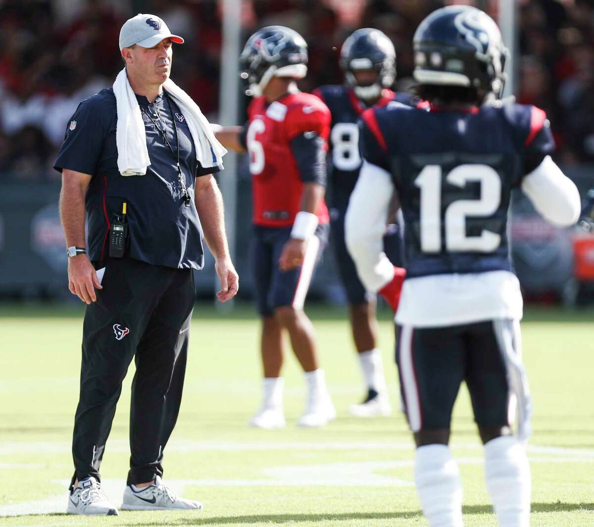 Houston Texans head coach Bill O'Brien runs a joint practice betwen the Texans and San Francisco 49ers at the Methodist Training Center on Wednesday, Aug. 15, 2018, in Houston.