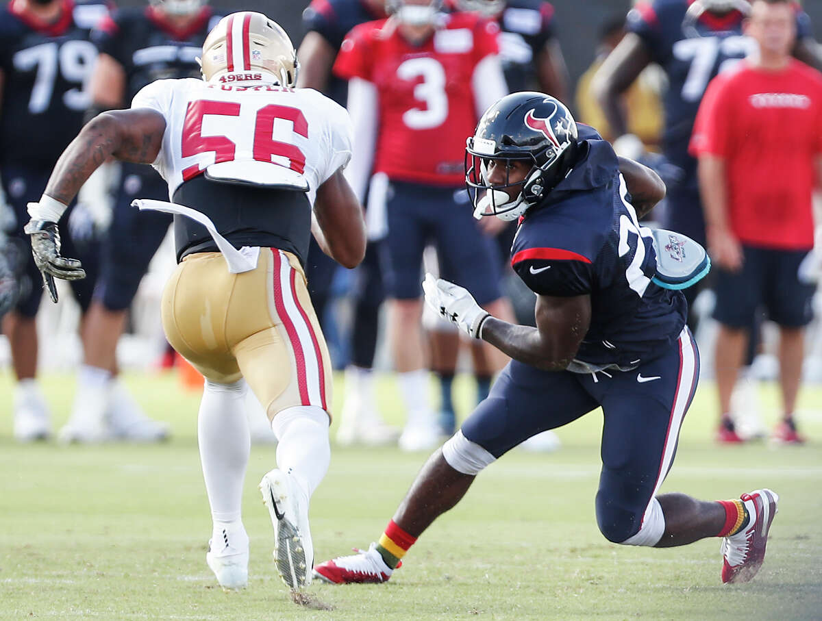 Texans running back Lamar Miller arrived at camp this year leaner than in his previous seasons with the team.