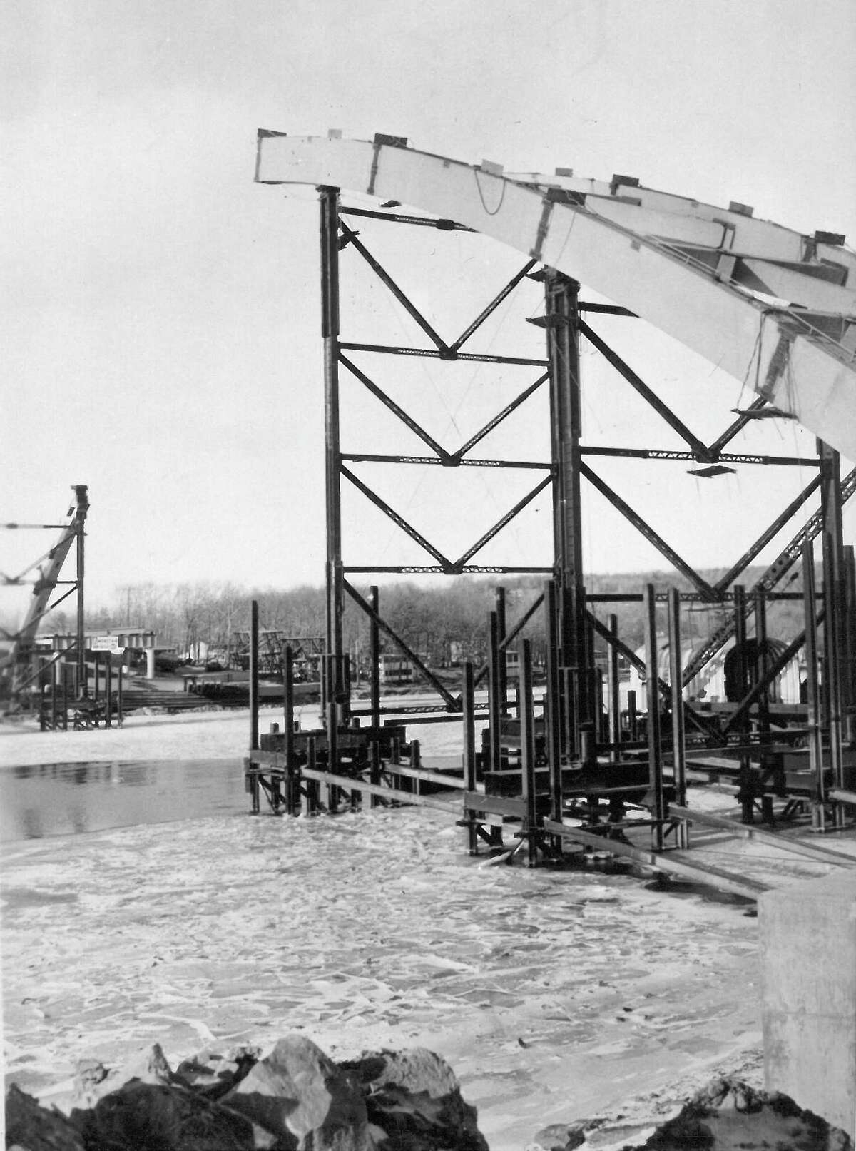 Construction of the Thaddeus Kosciusko Bridge, which carries the Northway across the Mohawk River, is constructed in the late 1950s. The bridge opened in 1959. (DA Collins Companies)