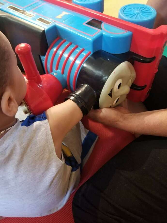 Danbury firefighters rescued a two-year-old boy Wednesday whose arm became stuck inside a Thomas the Tank Engine toy. Photo: / Contributed
