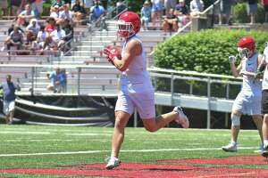 Quintin O'Connell of the New Canaan Rams catches a pass in the endzone during the 11th Annual Grip It and Rip It competition.