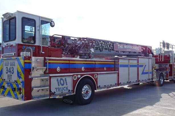 The Woodlands Fire Department's new Pierce Ascendant 107-foot Tiller fire truck, which is built on top of a Velocity chassis. The truck holds 300 gallons of water and is equipped with a 1,250 Gallon Per Minute pump with the heavy duty steel Ascendant ladder measuring 107 feet vertical and 100 feet horizontal.
