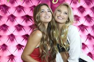 "Instagram influencer, Negin Mirsalehi, left, and Victoria Secret model, Romee Strijd pose for a photo at Hotel Crescent while celebrating the all new ""Body by Victoria"" collection in Dallas, Texas."