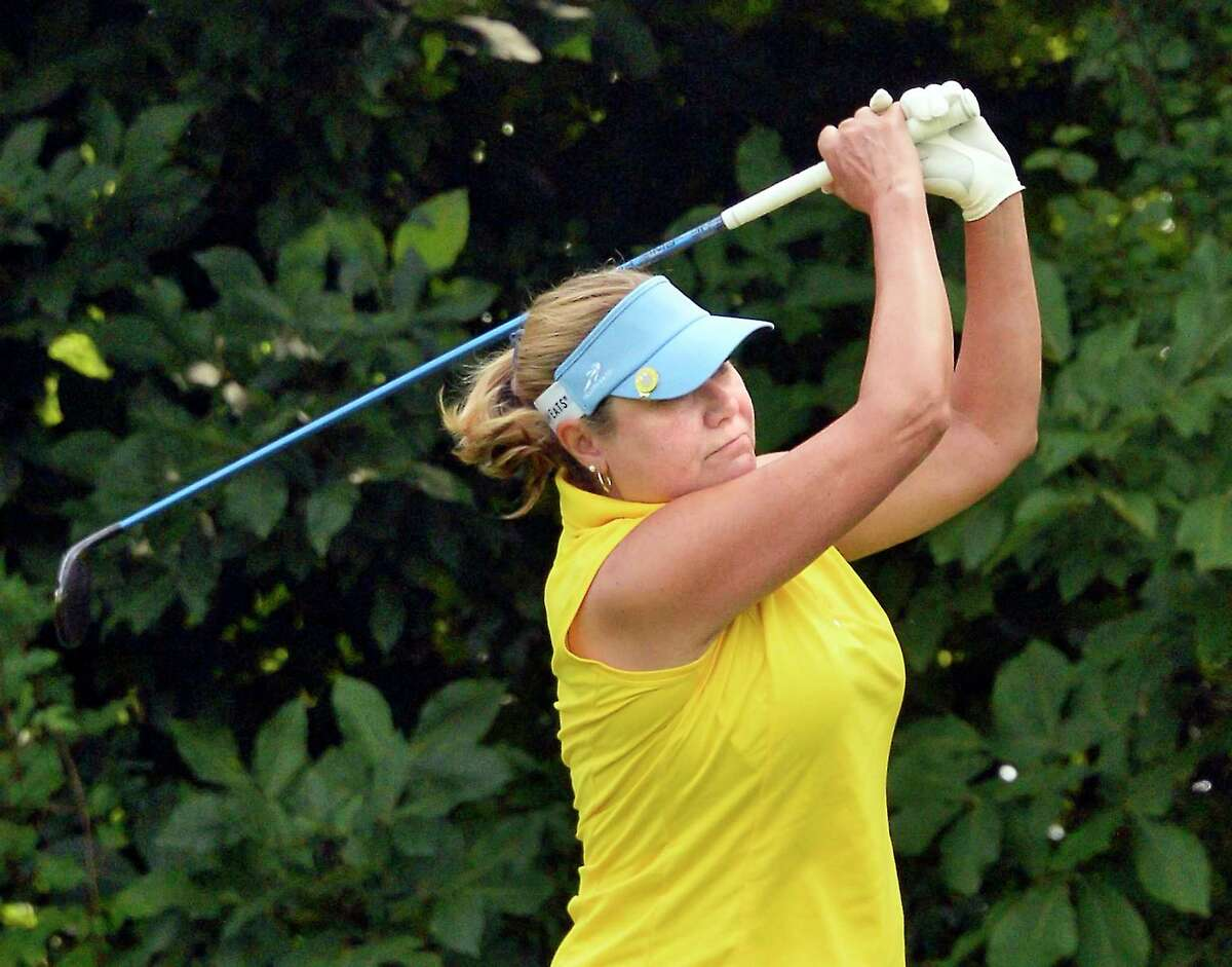 Nancy Kroll tees off during the final round of the Northeastern Women's Golf Association championship at Colonie Golf and Country Club Wednesday August 15, 2018 in Voorheesville, NY. (John Carl D'Annibale/Times Union)