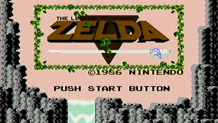 "The title screen from ""The Legend of Zelda,"" the 1986 Nintendo game."
