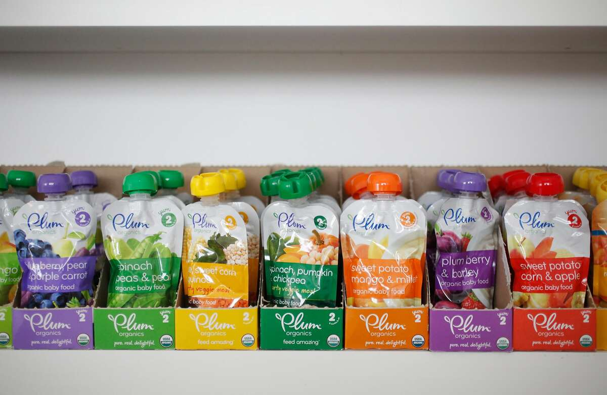 A shelf of baby food products sits in the main conference room Oct. 20, 2014 at Plum Organics in Emeryville, Calif.