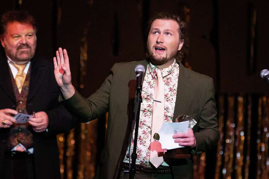 """Adam Isbell accepts the Montie for Best Lead Actor in a Musical in """"Young Frankenstein"""" during the Montie Awards Celebration on Saturday, Aug. 11, 2018, at the Crighton Theatre. Photo: Michael Minasi, Staff Photographer / Houston Chronicle / © 2018 Houston Chronicle"""