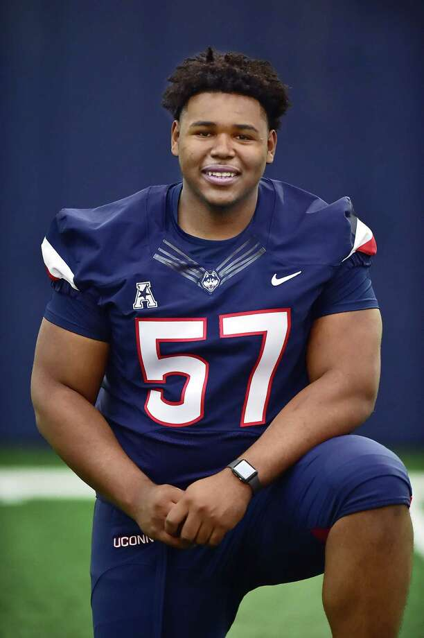No true freshman has opened more eyes than former Wilbur Cross lineman Travis Jones, who is vying for a starting spot on the UConn football team. Photo: Catherine Avalone / Hearst Connecticut Media / New Haven Register