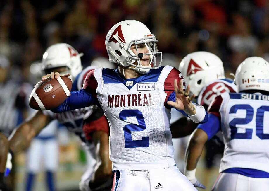 Montreal Alouettes quarterback Johnny Manziel (2) passes during first-half CFL football game action against the Ottawa Redblacks in Ottawa, Ontario, Saturday, Aug. 11, 2018. (Justin Tang/The Canadian Press via AP) Photo: Justin Tang, Associated Press / The Canadian Press