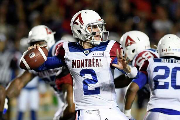 Montreal Alouettes quarterback Johnny Manziel (2) passes during first-half CFL football game action against the Ottawa Redblacks in Ottawa, Ontario, Saturday, Aug. 11, 2018. (Justin Tang/The Canadian Press via AP)