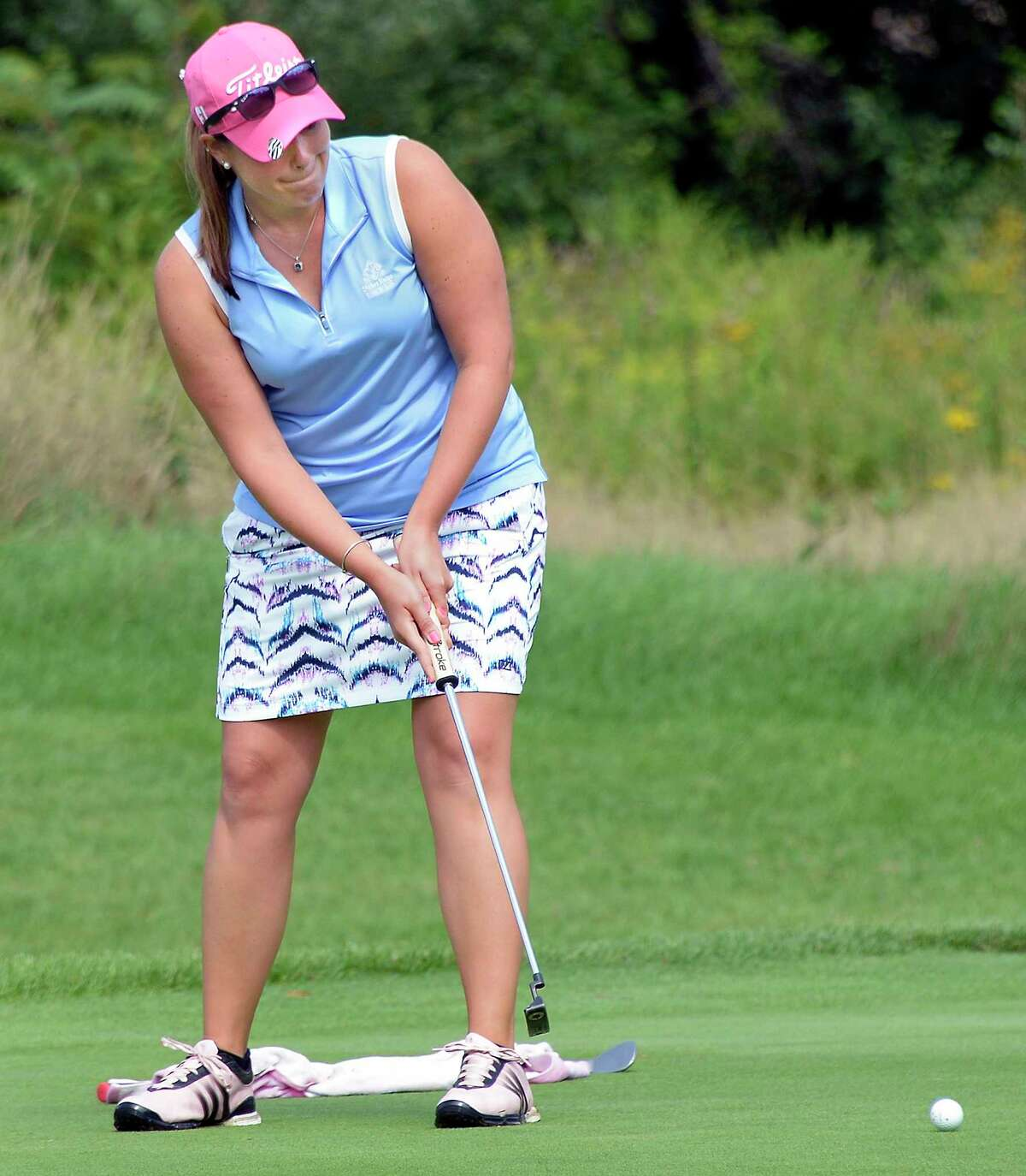 Rachel Barlette putts in the final round of the Northeastern Women's Golf Association championship at Colonie Golf and Country Club Wednesday August 15, 2018 in Voorheesville, NY. (John Carl D'Annibale/Times Union)