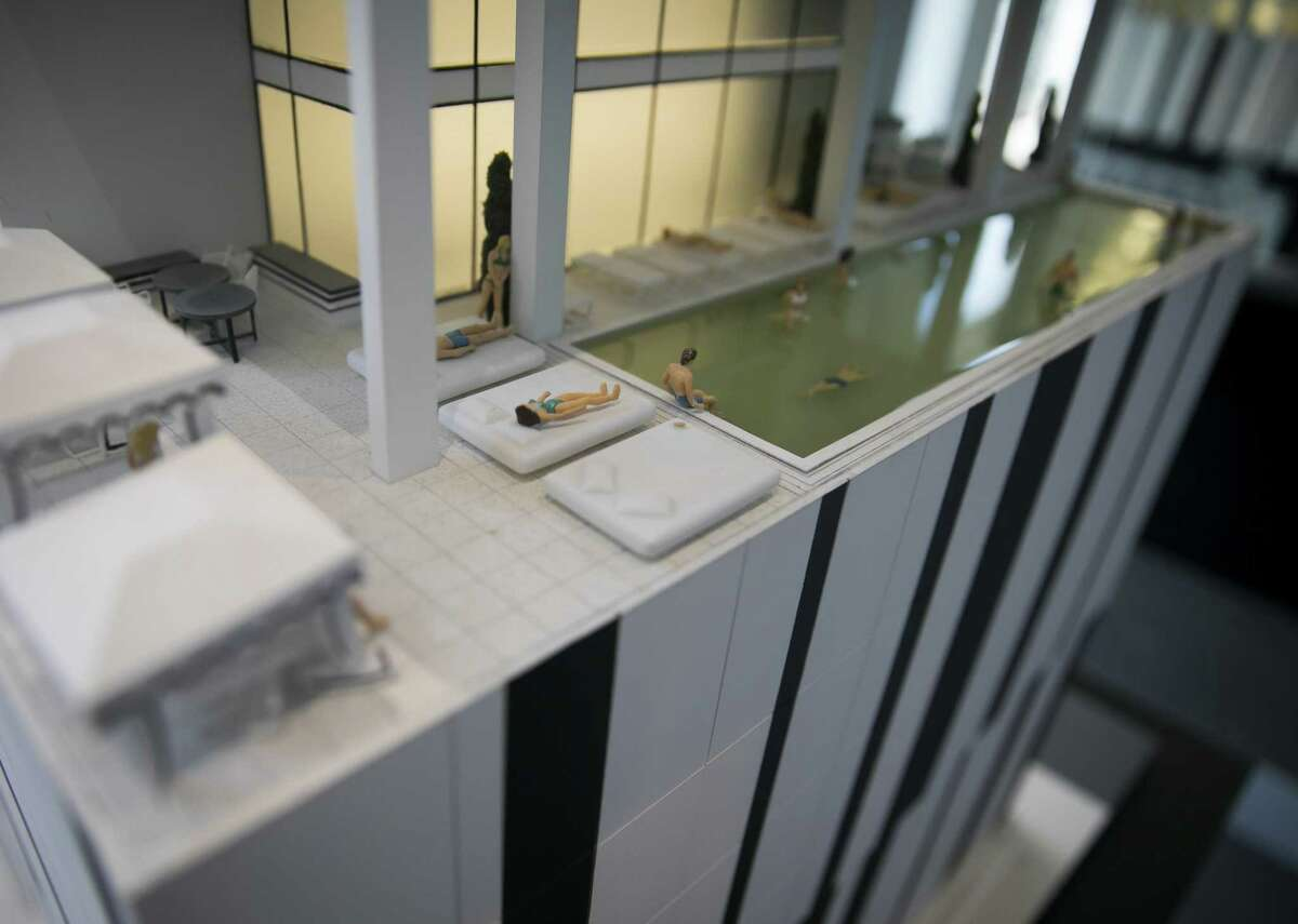 A model replica shows the rooftop pool of the new Marlowe development in downtown Houston on Wednesday, Aug. 15, 2018.