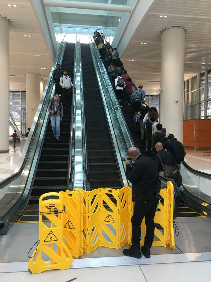 Twitter user @suldrew snapped a photo of an out-of-service escalator at the new Transbay Transit Center on Tuesday, Aug. 14, 2018. Photo: @suldrew
