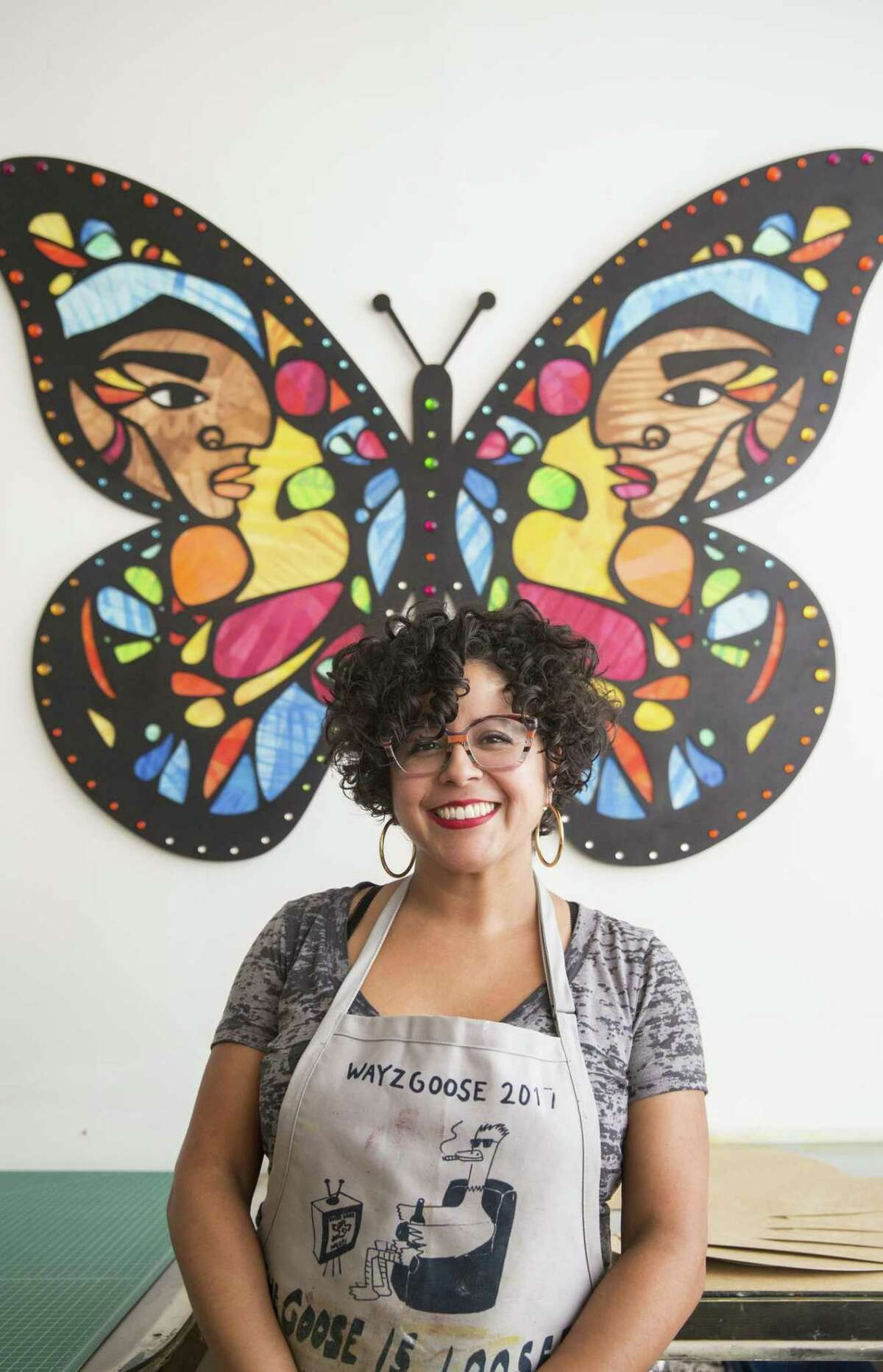 Multimedia artist Favianna Rodriguez at her Oakland studio. She also runs a nonprofit called Culture Strike, which empowers artists to advocate for causes through their work.