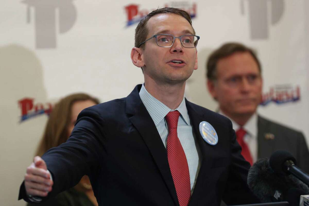 In this August file photo, TEA Commissioner Mike Morath discussed the 2017-2018 accountability ratings in the library of Glenda Dawson High School in Pearland ISD.