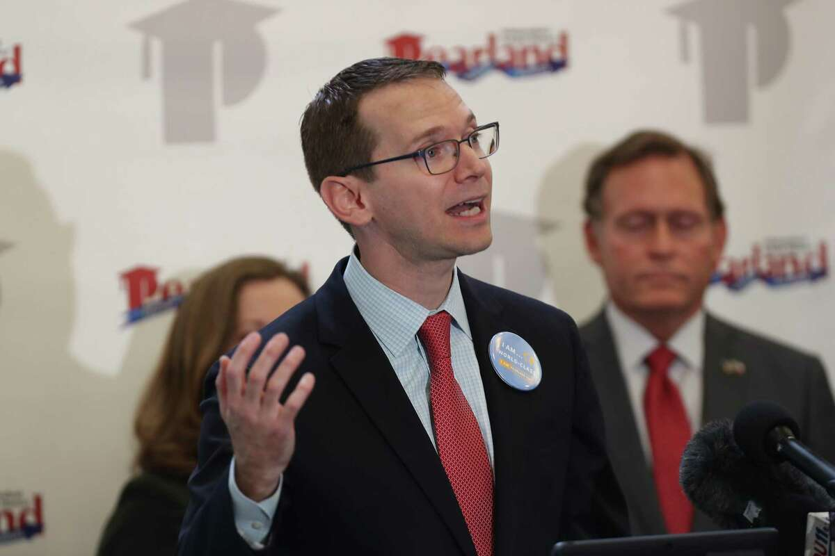 TEA Commissioner Mike Morath discussed the 2017-2018 accountability ratings in the library of Glenda Dawson High School Wednesday, Aug. 15, 2018, in Pearland. He will speak in Aldine ISD when the 2018-2019 grades are released on Thursday, Aug. 15, 2019.