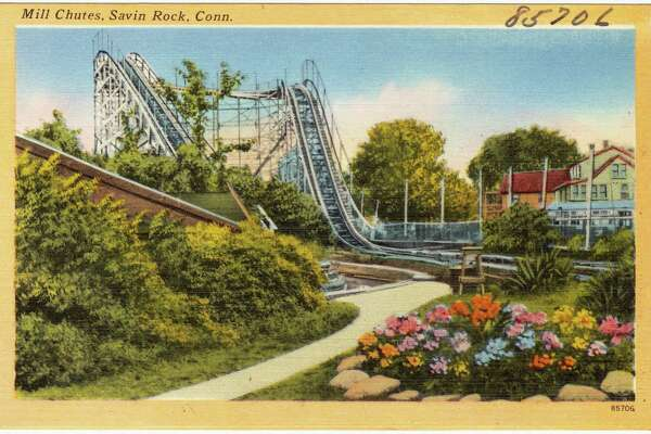 The Mill Chutes, built in 1925 by the Philadelphia Toboggan Co., had boat riders pass through a tunnel before being pulled up to a great height and shooting down into water for a splashdown. Source: Boston Public Library Tichnor Brothers collection