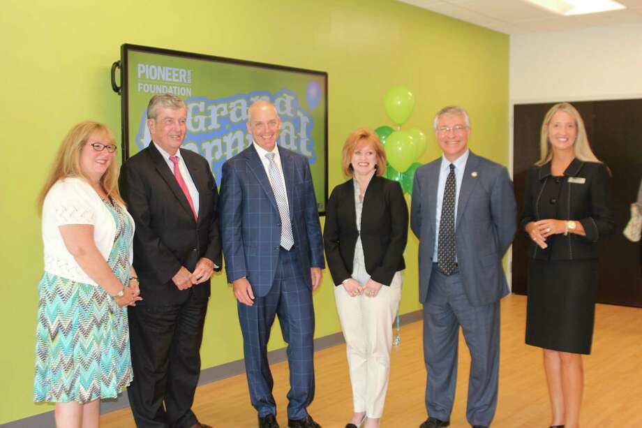 From left: Mary Rozak, Sen. Neil Breslin, Tom Amell, Audra Higgins, Assemblymember Phil Steck and Susan Hollister gather at the launch of the Pioneer Bank Foundation on Thursday, Aug. 9, at Pioneer Bank headquarters in Colonie. (Submitted photo)