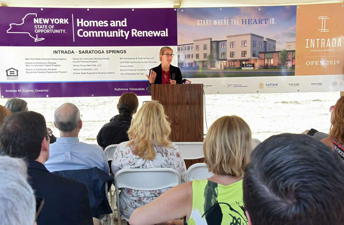 New York State Homes and Community Renewal Commissioner RuthAnne Visnauskas speaks during a groundbreaking of Intrada Saratoga Springs on Wednesday, Aug. 15, 2018 in Saratoga Springs, N.Y. Intrada Saratoga Springs is a $34 million development that will create 157 affordable homes. (Lori Van Buren/Times Union)