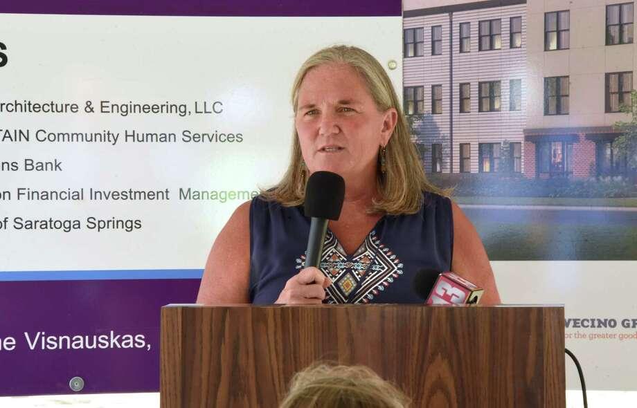 Saratoga Springs Mayor Meg Kelly, speaking during a groundbreaking of Intrada Saratoga Springs in August, says her salary is ridiculous. (Lori Van Buren/Times Union) Photo: Lori Van Buren / 20044566A