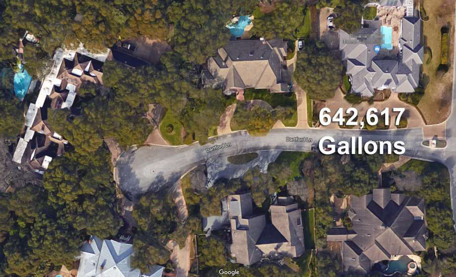 TOP RESIDENTIAL WATER USERS IN 2018:20. A home in the Dominion owned by William E. Bird used 642,617 gallons between Jan. 1-July 31, 2018. Photo: Google Earth