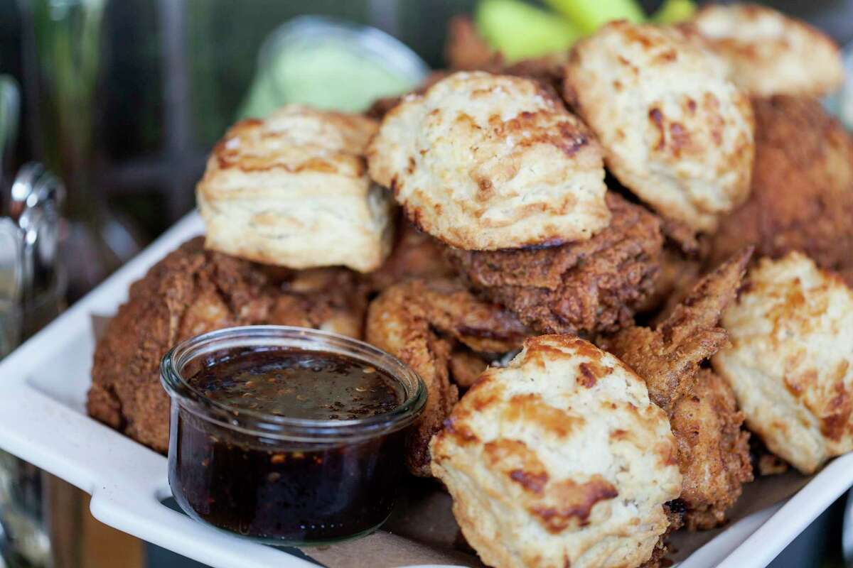 Fried chicken and biscuits from La Lucha, chef Ford Fry's homage to his childhood visits to the San Jacinto Inn. La Lucha is one of two restaurants (the other, Superica, a Tex-Mex spot) Fry opened at 1801 N. Shepherd.