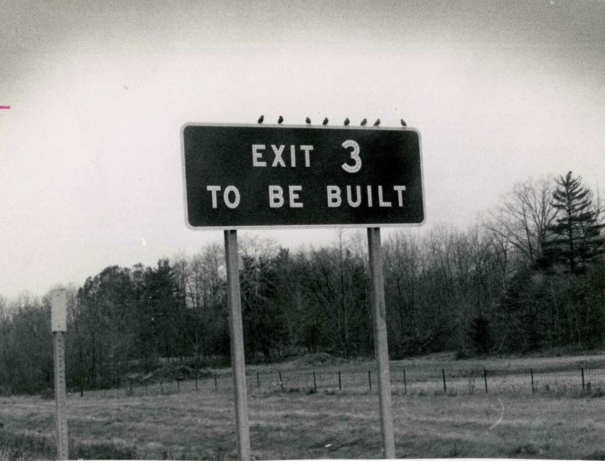 A construction sign on the Northway in November 1971 announces,