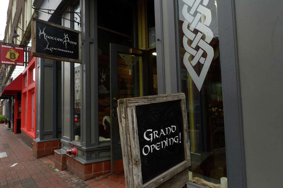 Knotted Bone, a new business specializing in chain mail jewelry and medieval leather goods, Friday, August 18, 2017, on Washington Street in Norwalk, Conn.