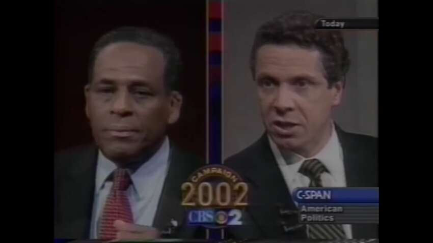 Andrew Cuomo and Carl McCall square off in 2002 gubernatorial debate for the Democratic nomination. (Screenshot)