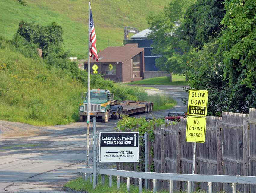 Entrance to the Rapp Road Landfill Thursday August 16, 2018 in Colonie, NY. Albany officials now are projecting the Rapp Road Landfill won't close until 2026, giving the city more time to determine a long-term solution. Meanwhile, a pilot for a pay-as-you-throw system won't be launched next year, leaving things like the trash fee as status quo. (John Carl D'Annibale/Times Union)