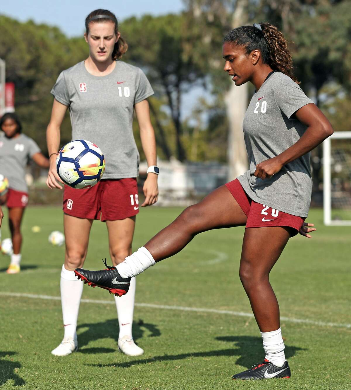 Stanford Women's Soccer's Catarina Macro (20) and Tierna Davidson (10) during practice in Stanford, Calif. on Tuesday, August 14, 2018.