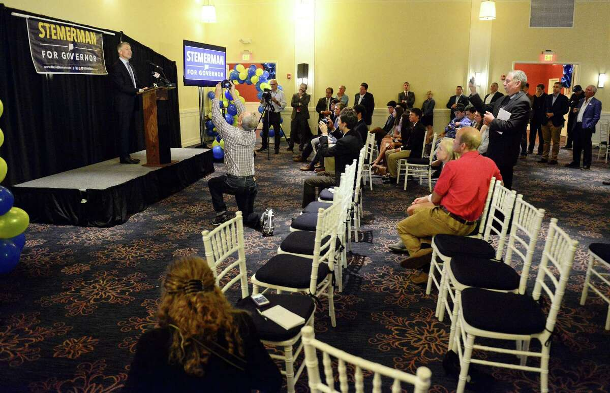 David Stemerman, Republican candidate for governor of Connecticut concedes his bid during a primary election night reception at The Westport Inn in Westport, Conn. on August 14, 2018.