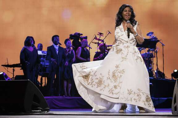 """Aretha Franklin performs at the world premiere of """"Clive Davis: The Soundtrack of Our Lives"""" at Radio City Music Hall, during the 2017 Tribeca Film Festival in New York. Franklin died Thursday, Aug. 16, 2018 at her home in Detroit. She was 76. (Photo by Charles Sykes/Invision/AP, File)"""