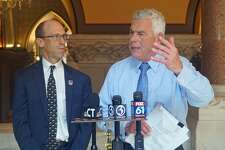 Oz Griebel (right) and Monte Frank (left) are making an independent bid for the governor's office in 2018 by petitioning onto the November ballot. Griebel, a self-described liberal Republican, is running for governor with Frank, a conservative Democrat, as his lieutenant governor running mate. They held a press conference at the Capitol in Hartford, Conn. on Thursday August 16, 2018.