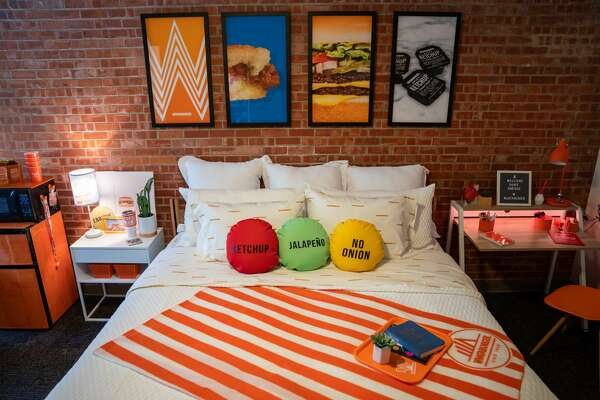 Trinity junior Enrique Alcoreza decorated his home away from El Paso with handmade Whataburger decor last semester. To support one of their superfans in his upcoming year, Whataburger furnished his room from the refrigerator to his workspace, according to a news release.