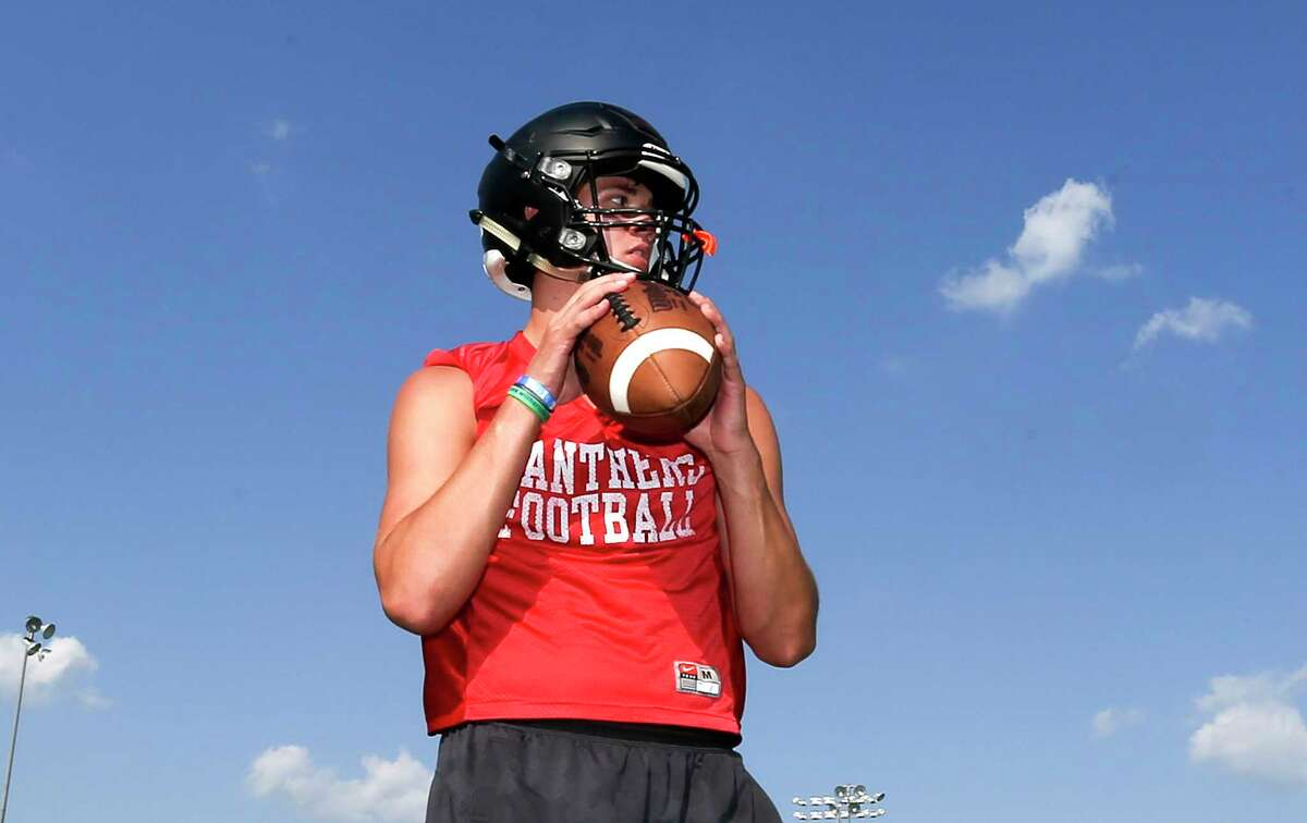 St. Pius quarterback Grant Gunnell, one of the All-Greater Houston preseason football team, during his school's practice on Friday, Aug. 3, 2018 in Houston.