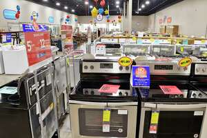 Rows of appliances on display during Sears Outlet store's grand opening at their new Crossgates Commons location Thursday August 16, 2018 in Albany, NY.  (John Carl D'Annibale/Times Union)