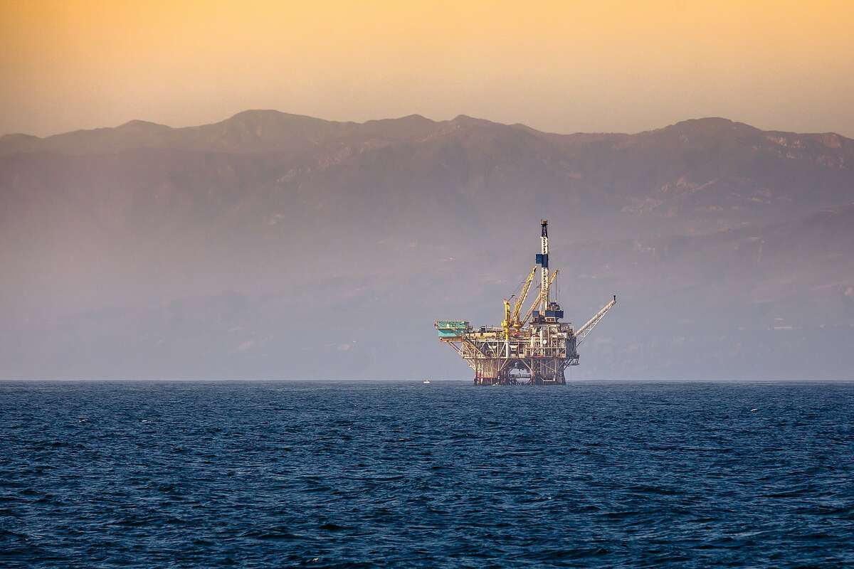 President Biden's directive on new oil leases would stop new drilling off the California coast - this drilling platform is off the coast of Ventura.