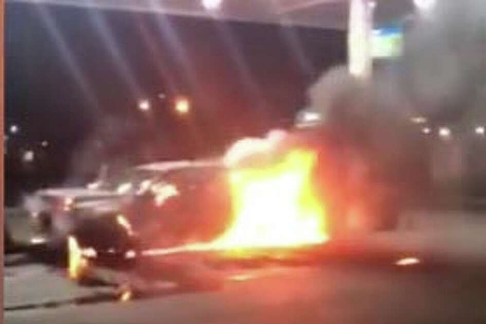 A car went up in flames after crashing near a gas pump in north Laredo Thursday morning, officials said.
