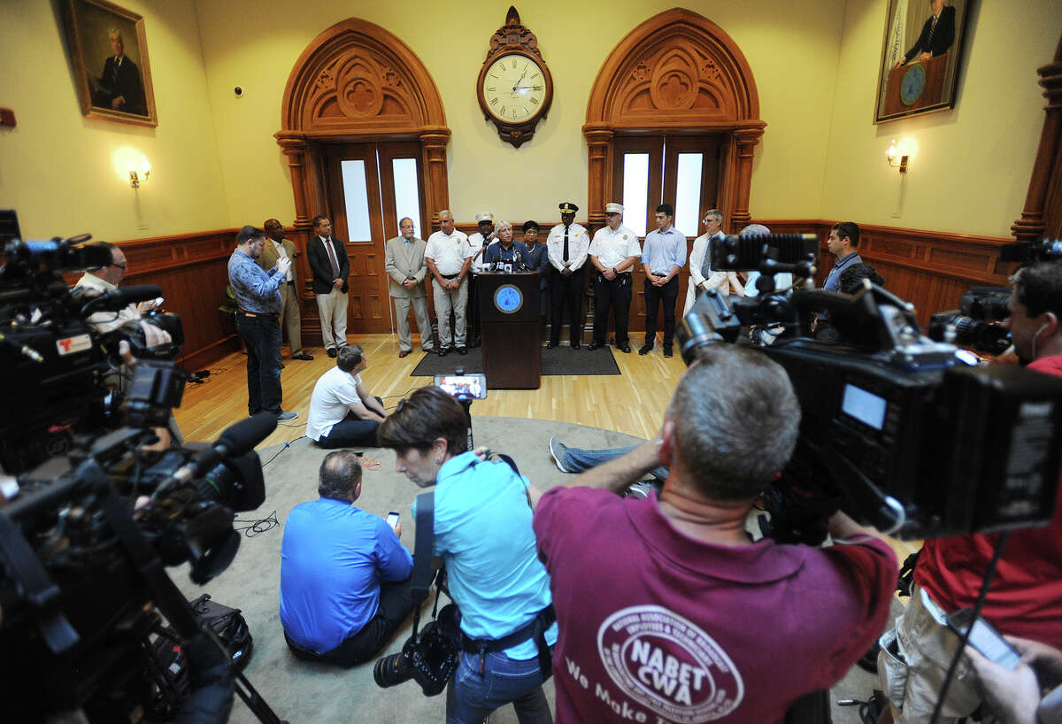 A press conference at New Haven City Hall on Thursday, August 16, 2018 to address the outbreak of K-2 related medical emergencies centered on the New Haven Green in the last two days.