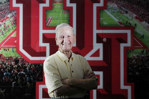 Tony Bruno, 92, a lifelong UH supporter has been volunteering for 33 years with the sports programs. Photographed on Wednesday, Aug. 8, 2018 in Houston.