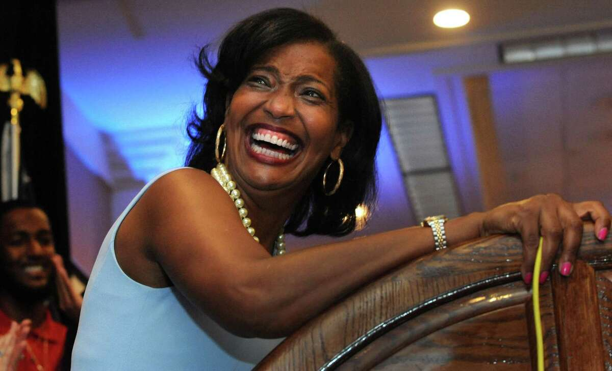 """Jahana Hayes celebrates her Democratic primary win for the 5th Congressional District onTuesday in Waterbury. The Democratic Congressional Campaign Committee has added Hayes to its """"Red to Blue"""" program for strong candidates."""