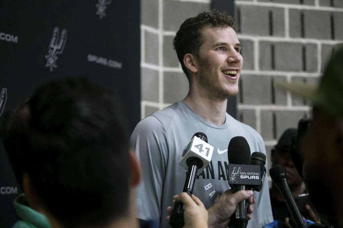 Jakob Poeltl speaks to the media at the San Antonio Spurs practice facilityAug. 16, 2018. The seven foot Austrian center will join the Spurs for his first season in San Antonio this year.
