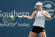 CoCo Vandeweghe returns a shot to Kiki Bertens during the Western & Southern Open on Tuesday.