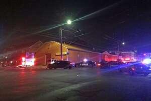 Bridgeport, Conn., firefighters battled a fire on Main Street on Aug. 15, 2018.