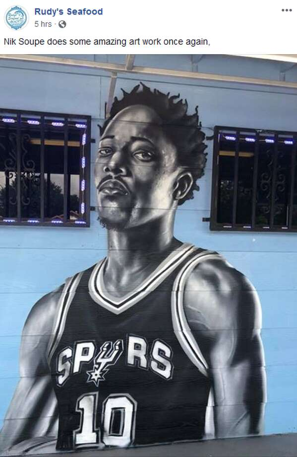 New Spurs DeMar DeRozan and team legend George Gervin were adding to the growing Silver & Black mural at Rudy's Seafood this week. Photo: Rudy's Seafod Facebook Page