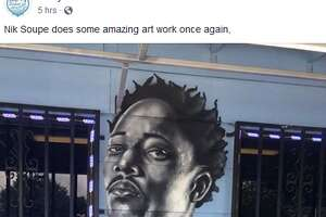 New Spurs DeMar DeRozan and team legend George Gervin were adding to the growing Silver & Black mural at Rudy's Seafood this week.