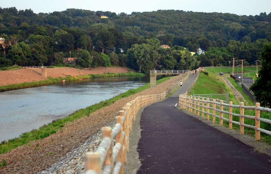 A view of the river walk path off of Pershing Drive in Ansonia, Conn., on Wednesday Aug. 15, 2018. A new bridge connects the path to Pershing Drive. Photo: Christian Abraham, Hearst Connecticut Media / Connecticut Post