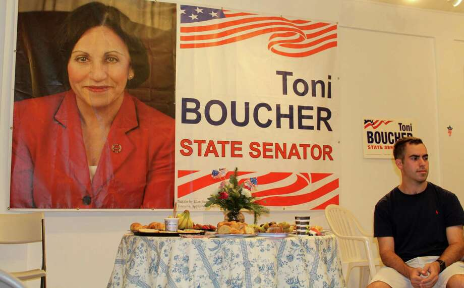 A photo of State Senator Toni Boucher hangs in the office of The Wilton Republican Town Committee on Danbury Road in Wilton. Photo taken on Aug. 4. Photo: Sophie Vaughan / Hearst Connecticut Media / Westport News